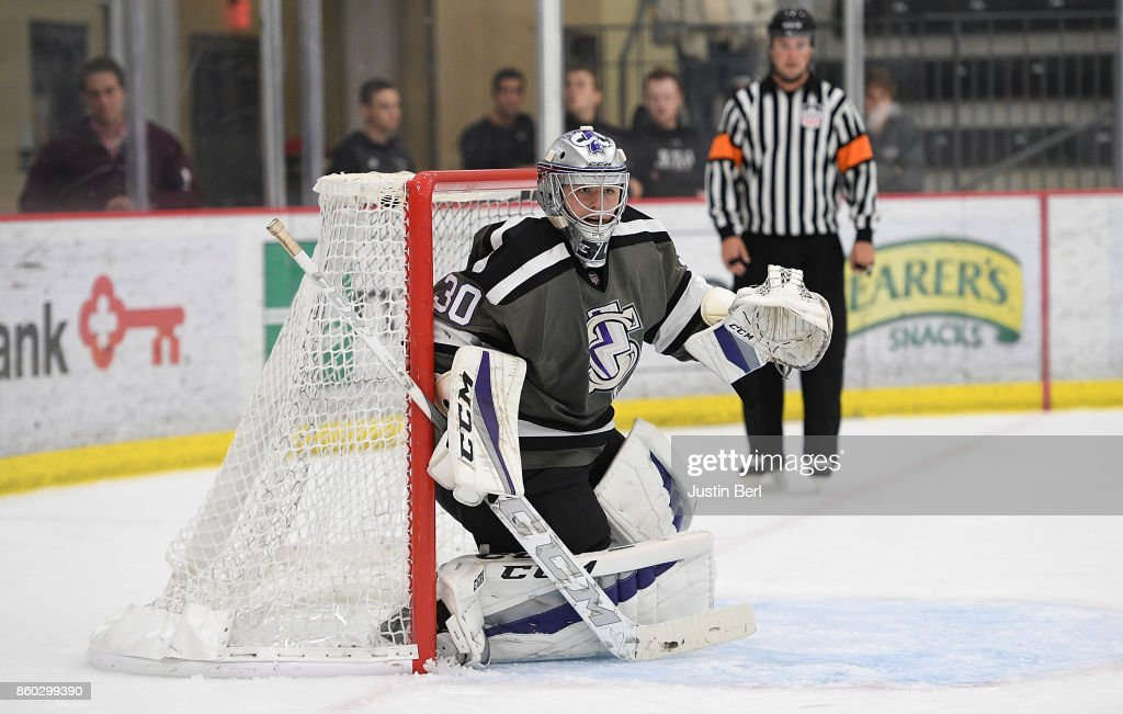 Filip Larsson #30 of the Tri-City Storm tends net during the game against the Muskegon Lumberjacks on Day 3 of the USHL Fall Classic at UPMC Lemieux Sports Complex on September 30, 2017 in Cranberry Township, Pennsylvania.