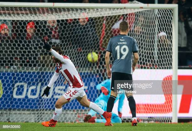 Filip Lesniak of AaB Aalborg celebrates after scoring their first goal during the Danish Alka Superliga match between AaB Aalborg and FC Copenhagen...