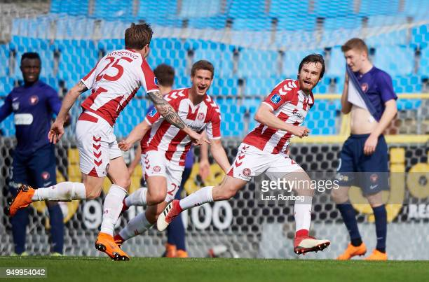 Filip Lesniak of AaB Aalborg celebrates after scoring their first goal during the Danish Alka Superliga match between AaB Aalborg and FC Midtjylland...