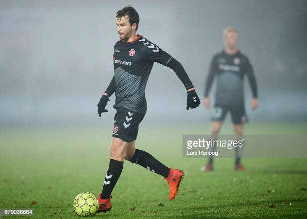 Filip Lesniak of AaB Aalborg controls the ball during the Danish Alka Superliga match between FC Helsingor and AaB Aalborg at Helsingor Stadion on...