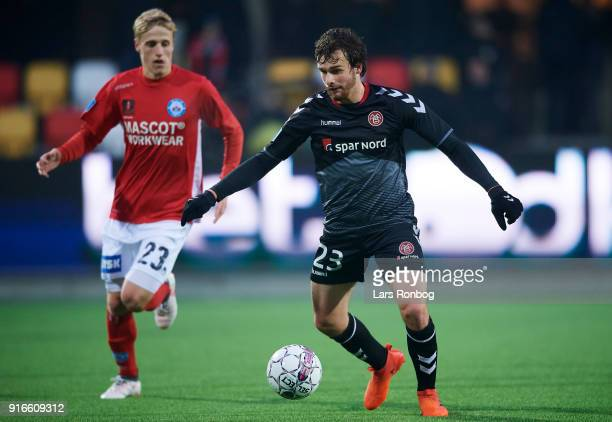 Filip Lesniak of AaB Aalborg controls the ball during the Danish Alka Superliga match between Silkeborg IF and AaB Aalborg at Jysk Park on February...