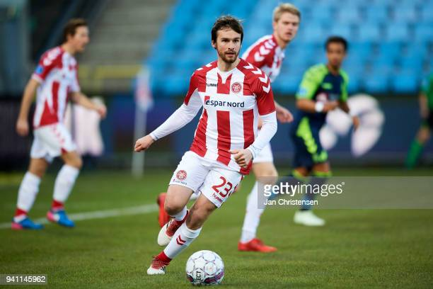 Filip Lesniak of AaB Aalborg in action during the Danish Alka Superliga match between AaB Aalborg and Brondby IF at Aalborg Portland Park on April 02...