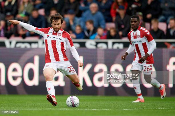 Filip Lesniak of AaB Aalborg in action during the Danish Alka Superliga match between FC Midtjylland and AaB Aalborg at MCH Arena on April 29 2018 in...