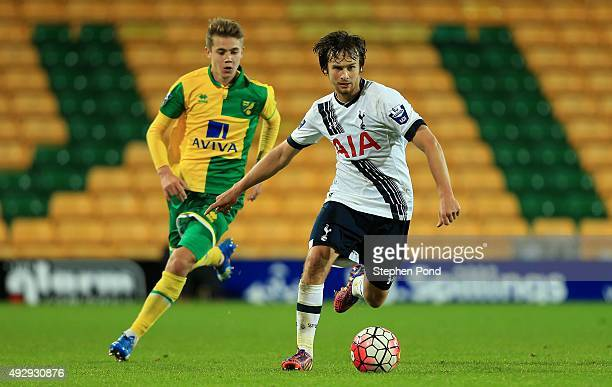 Filip Lesniak of Tottenham Hotspur and Todd Cantwell of Norwich City compete for the ball during the Barclays U21 Premier League match between...