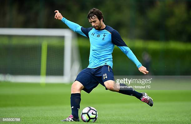 Filip Lesniak of Tottenham Hotspur in action during a training session at the Tottenham Hotspur Training Centre on July 8 2016 in Enfield England
