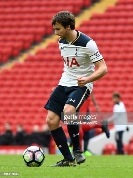 Filip Lesniak of Tottenham Hotspur in action during Premier League 2 match between Liverpool and Tottenham Hotspur at Anfield on February 5 2017 in...