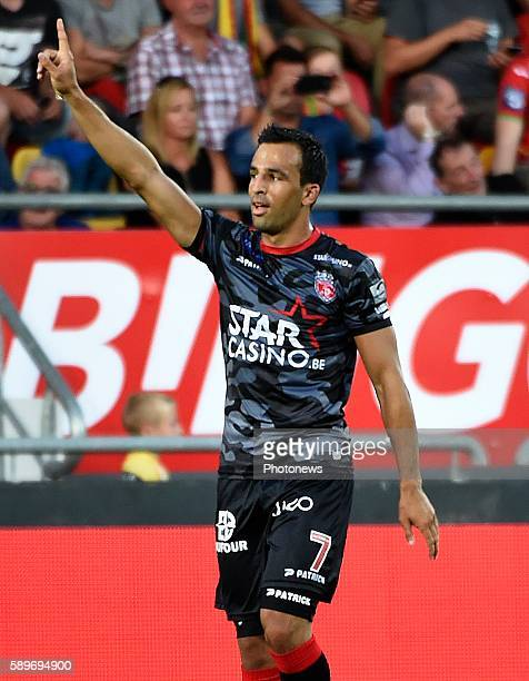 Filip Markovic midfielder of Royal Excel Mouscron celebrates scoring a goal pictured during Jupiler Pro League match between KV Ostende and Mouscron...