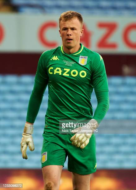 Filip Marschall of Aston Villa in action during the FA Youth Cup Final between Aston Villa U18 and Liverpool U18, at Villa Park on May 24, 2021 in...