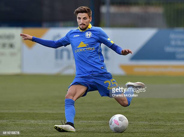 Filip Mladenovic of BATE Borisov during the Champions League 2nd round qualifying game between Dundalk FC and BATE Borisov at Oriel Park on July 22...