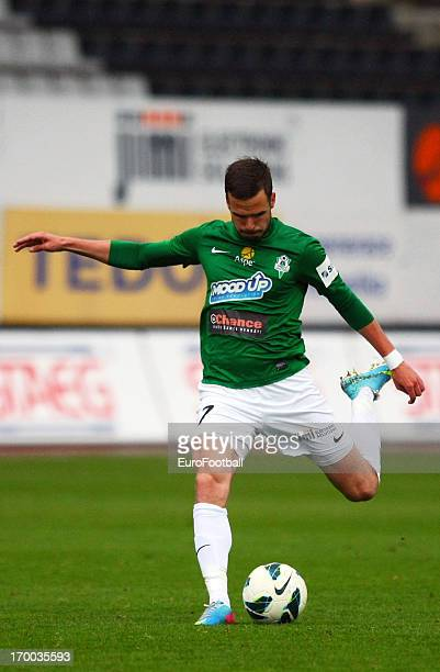 Filip Novak of FK Jablonec in action during the Czech First League match between FK Jablonec and SK Sigma Olomouc held on May 26, 2013 at the Chance...