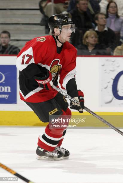 Filip Novak of the Ottawa Senators skates during the game against the New York Rangers on March 30, 2006 at the Scotiabank Place in Ottawa, Canada....