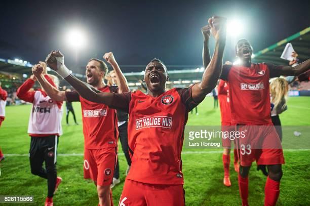 Filip Novak Rilwan Hassan and Paul Onuachu of FC Midtjylland celebrate after the UEFA Europa League Qualification 3rd round 2th leg match between FC...