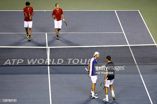 Filip Polasek of Slovakia and Frantisek Cermak of Czech Republic celebrates winning a shot against their semi final doubles match against Bruno...
