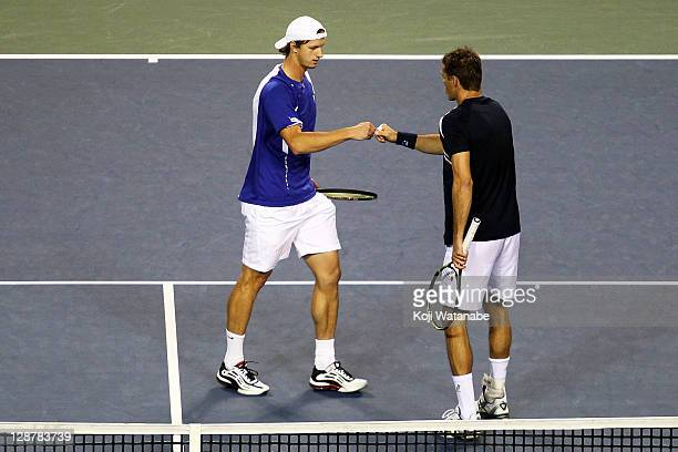 Filip Polasek of Slovakia and Frantisek Cermak of Czech Republic in action their semi final doubles match against Bruno Soares and Marcelo Melo of...