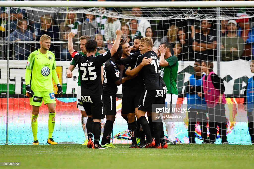 Filip Rogic of Orebro SK celebrates after the victory 1-2 during the Allsvenskan match between Jonkopings Sodra IF and Orebro SK at Stadsparksvallen on August 13, 2017 in Jonkoping, Sweden.