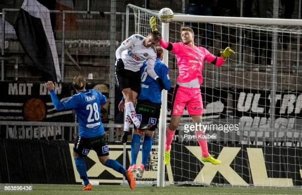Filip Rogic of Orebro SK & Malkolm Nilsson, goalkeeper of Halmstad BK during the Allsvenskan match between Orebro SK and Halmstad BK at Behrn Arena...