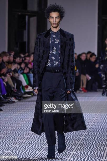 Filip Roseen walks the runway during the Haider Ackermann Menswear Fall/Winter 20182019 show as part of Paris Fashion Week on January 17 2018 in...