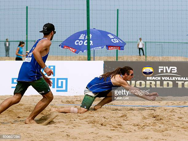 Filip Silic and Ivan Zeljkovic of Croatia in action at the Beach Volleyball World Tour Xiamen 2016 on April 12 2016 in Xiamen China