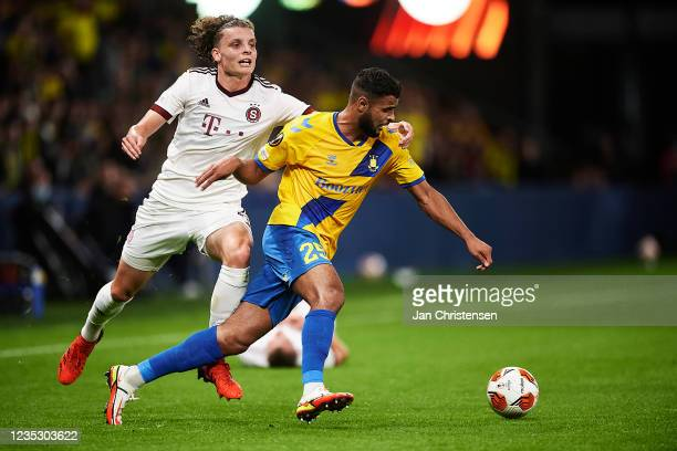 Filip Soucek of AC Sparta Praha and Anis Ben Slimane of Brondby IF compete for the ball during the UEFA Europa League match between Brondby IF and AC...