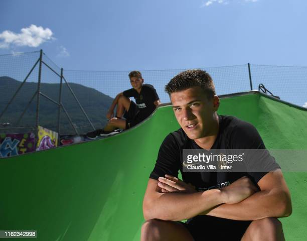 Filip Stankovic and Sebastiano Esposito of FC Internazionale pose for a photo before a FC Internazionale training session on July 12 2019 in Lugano...