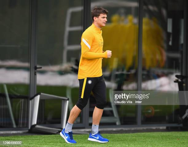 Filip Stankovic attends an FC Internazionale training session at Appiano Gentile on January 15, 2021 in Como, Italy.
