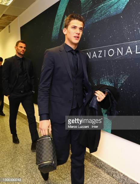 Filip Stankovic of FC Internazionale arrives prior to the Coppa Italia Semi Final match between FC Internazionale and SSC Napoli at Stadio Giuseppe...