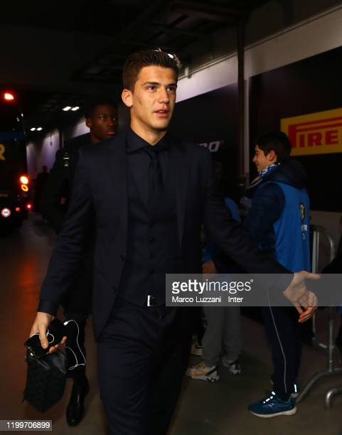 Filip Stankovic of FC Internazionale arrives prior to the Serie A match between FC Internazionale and AC Milan at Stadio Giuseppe Meazza on February...