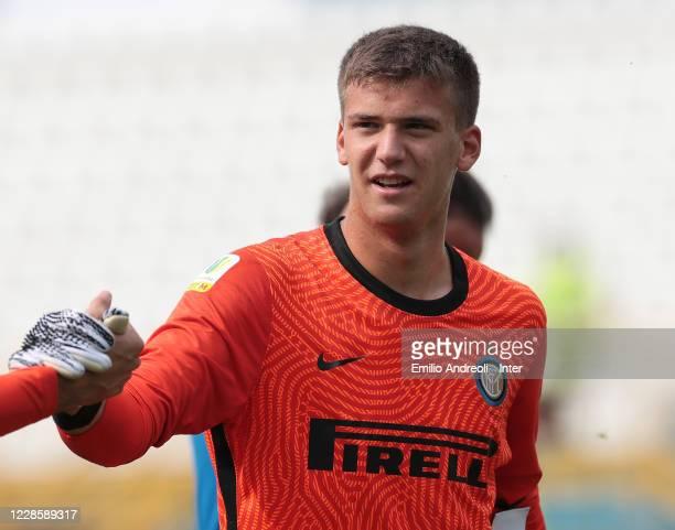 Filip Stankovic of FC Internazionale celebrates at the end of the Primavera 1 match between FC Internazionale U19 and UC Sampdoria U19 at Stadio...