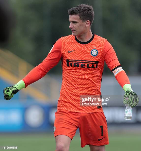 Filip Stankovic of FC Internazionale celebrates at the end of the Primavera 1 TIM match between FC Internazionale U19 and US Sassuolo U19 at Stadio...