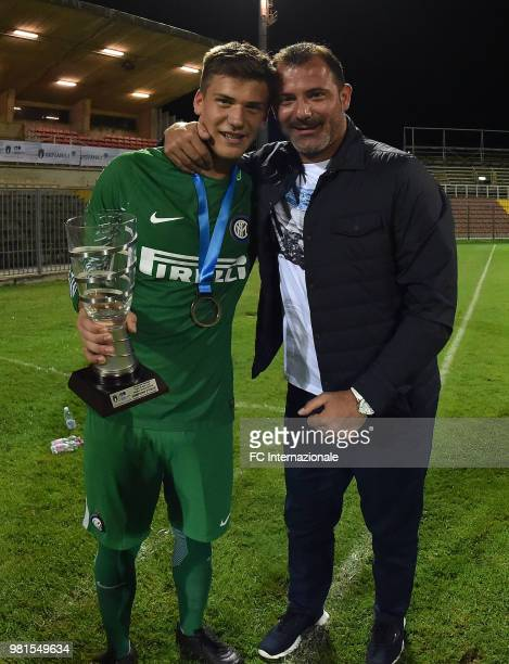 Filip Stankovic of FC Internazionale celebrates the victory with his father Dejan after the U16 Serie A and B Final match between FC Internazionale...