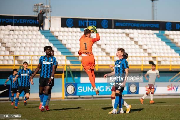 Filip Stankovic of FC Internazionale during the Primavera 1 TIM match between FC Internazionale U19 and AS Roma U19 at Stadio Breda on February 11,...