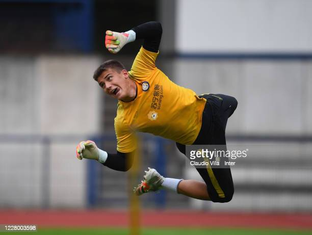 Filip Stankovic of FC Internazionale in action during a FC Internazionale training session on August 11, 2020 in Dusseldorf, Germany.