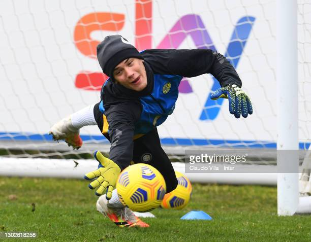 Filip Stankovic of FC Internazionale in action during a training session at Appiano Gentile on February 18, 2021 in Como, Italy.