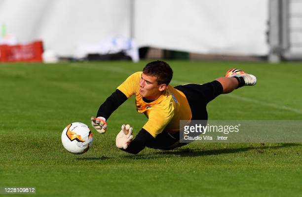 Filip Stankovic of FC Internazionale in action during FC Internazionale training session on August 19, 2020 in Dusseldorf, Germany.