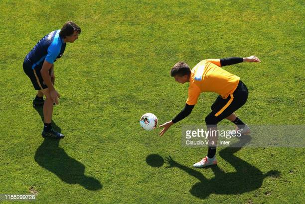 Filip Stankovic of FC Internazionale in action during the FC Internazionale training session on July 12 2019 in Lugano Switzerland