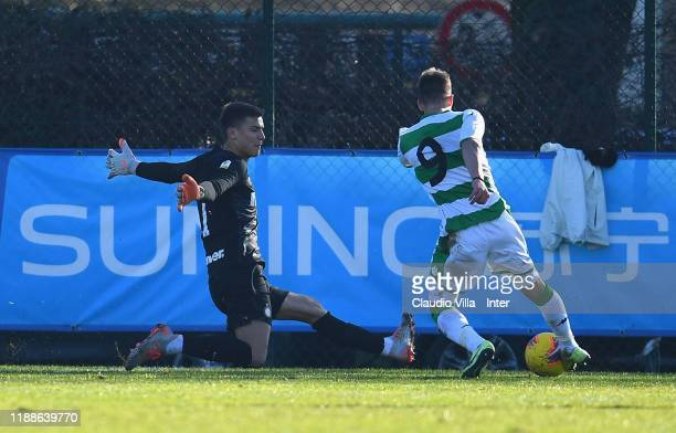 Filip Stankovic of FC Internazionale in action during the Primavera 1 match between FC Internazionale U19 and Sassuolo U19 at Stadio Breda on...