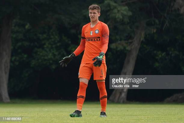 Filip Stankovic of FC Internazionale in action during the Serie A Primavera match between FC Internazionale U19 and US Citta di Palermo U19 at Stadio...
