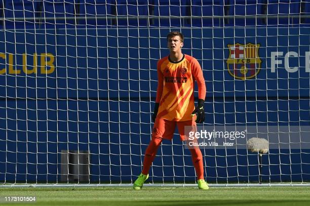 Filip Stankovic of FC Internazionale in action during the UEFA Youth League match between FC Barcelona and FC Internazionale on October 2 2019 in...
