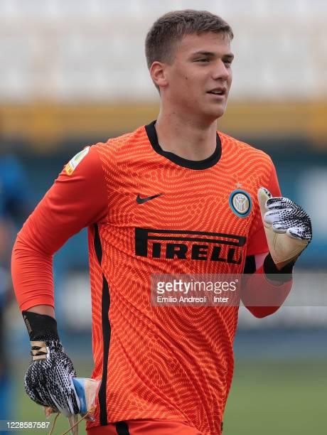 Filip Stankovic of FC Internazionale looks on during the Primavera 1 match between FC Internazionale U19 and UC Sampdoria U19 at Stadio Breda on...