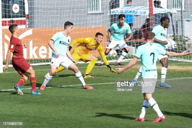 Filip Stankovic of FC Internazionale reacts during the Primavera 1 match between AS Roma U19 and FC Internazionale U19 at Stadio Tre Fontane on March...