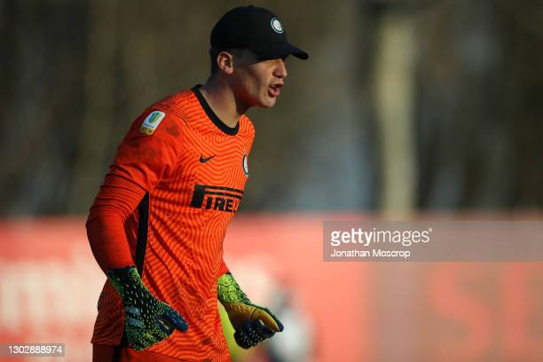 Filip Stankovic of Internazionale reacts during the Primavera 1 match between AC Milan and Internazionale on February 17, 2021 at Centro Sportivo...