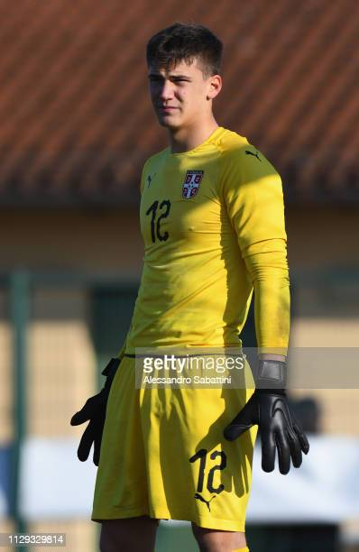 Filip Stankovic of Serbia U17 looks on during the International Friendly match between Italy U17 and Serbia U17 at on February 12 2019 in Tamai di...