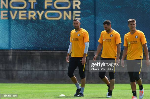 Filip Stankovic Samir Handanovic and Daniele Padelli of FC Internazionale in action during a training session on July 8 2019 in Lugano Switzerland