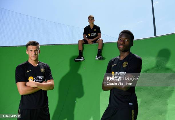 Filip Stankovic Sebastiano Esposito and Lucien Agoume of FC Internazionale pose for a photo before a FC Internazionale training session on July 12...