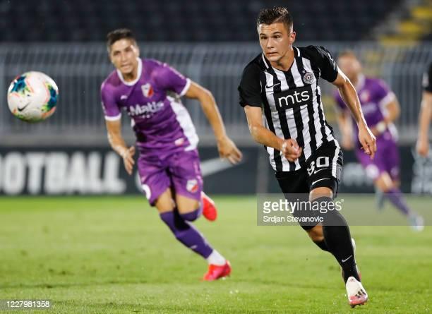 Filip Stevanovic of Partizan in action during the Serbian Super League match between FK Partizan and Javor Matis at Partizan Stadium on August 9,...