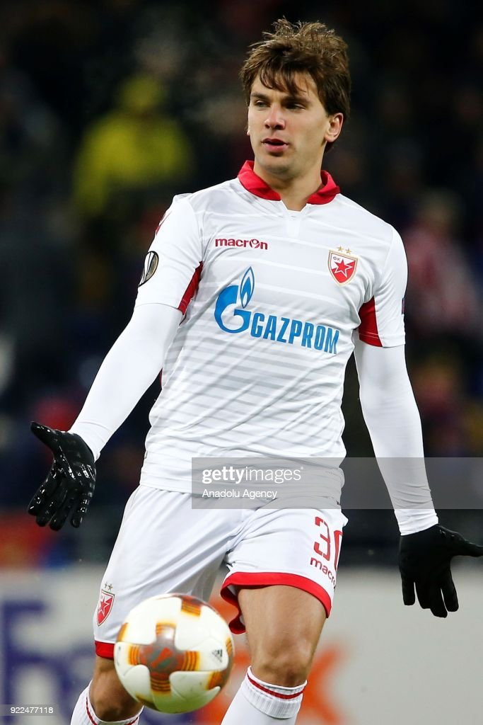 Filip Stojkovic of Crvena Zvezda is seen during the UEFA Europa League round of 32, second leg soccer match between CSKA Moscow and Crvena Zvezda at the Stadium CSKA Moscow in Moscow, Russia on February 21, 2018.