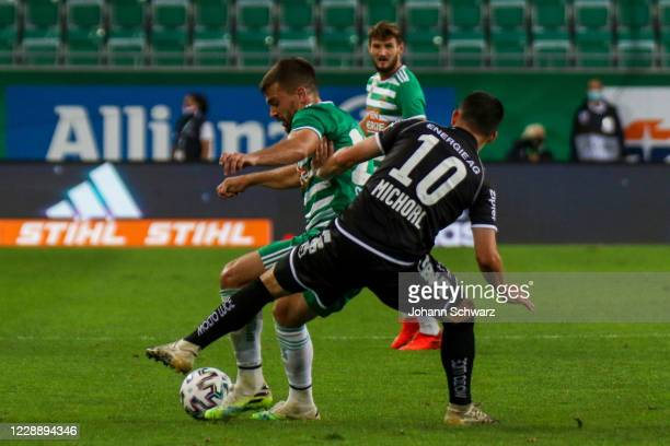 Filip Stojkovic of Rapid and Peter Michorl of LASK during the tipico Bundesliga match between SK Rapid Wien and LASK at Allianz Stadion on October 4...