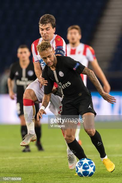 Filip Stojkovic of Red Star Belgrade Neymar da Silva Santos Júnior of Paris SaintGermain during the UEFA Champions League group C match between Paris...