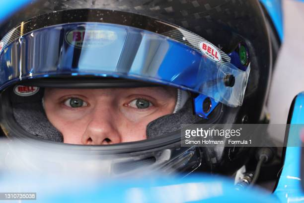 Filip Ugran of Romania and Jenzer Motorsport prepares to drive during Day Two of Formula 3 Testing at Red Bull Ring on April 04, 2021 in Spielberg,...