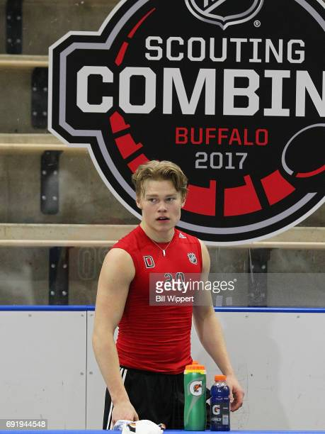Filip Westurlund awaits his turn for testing during the NHL Combine at HarborCenter on June 3 2017 in Buffalo New York